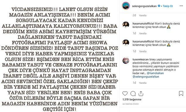Gösterilen tüm bu tepkilerin ardından Selen Görgüzel, Instagram hesabı üzerinden konuyla ilgili bir açıklama yaptı.