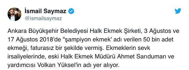 Hürriyet muhabiri İsmail Saymaz da gelişmeyi sosyal medya hesabından duyurdu.