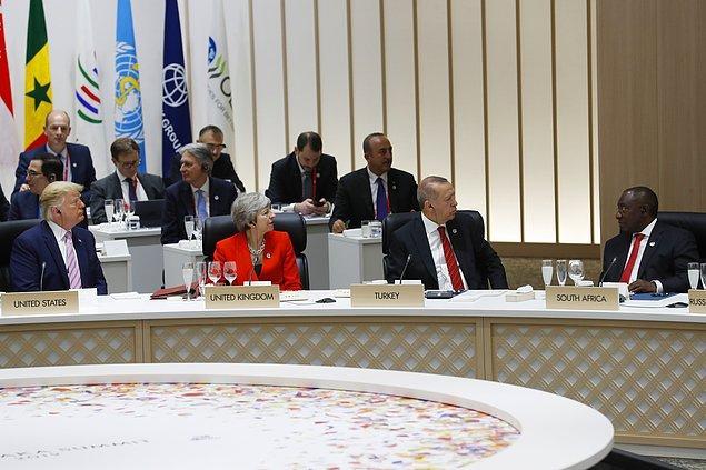 """Karşılamanın ardından liderler """"Dijital Ekonomi"""" temalı özel etkinliğe katıldı."""