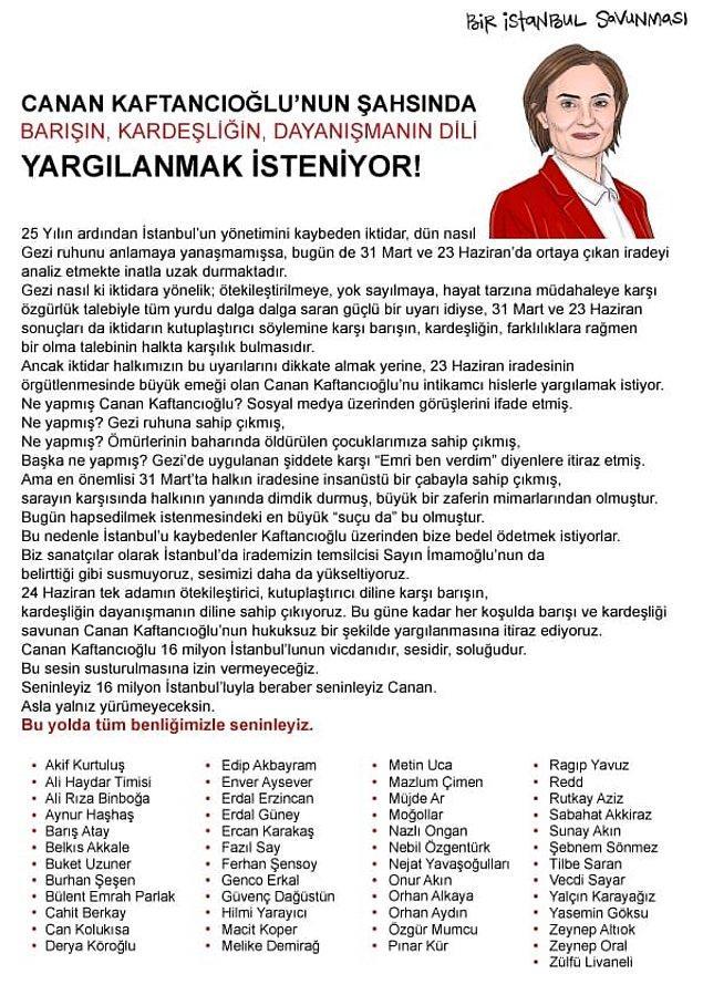 📌 49 isim Kaftancıoğlu için yazılan destek metnine imza attı.