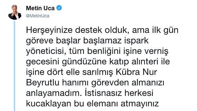 Bu iddiaları kendi üslubunca trollemeyen Metin Uca, bir fotoğraf paylaşarak İSPARK yöneticilerinden birinin işine son verildiğini paylaştı.
