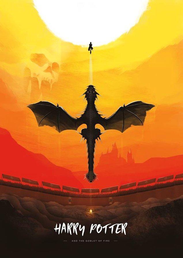 4. Serinin dördüncü filmi olan Ateş Kadehi'nde en bilindik mitolojik figürlerden olan ejderhalar boy göstermektedir. Ejderhalar özellikle Çin Mitolojisi'nde önemli bir yer tutarlar; uçabilen ve ağzından alev saçan korkunç yaratıklardır.