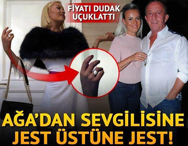 Ağaoğlu, genç sevgilisi Duygu Su Gülpınar'a aldığı ultra lüks hediyelerle de sık sık gündem oluyordu.