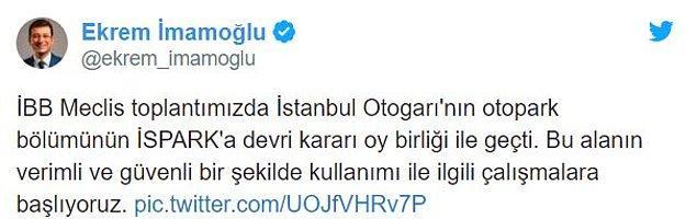 İstanbul Büyükşehir Belediye Başkanı Ekrem İmamoğlu kararın oybirliği ile alındığını belirtip, otogara ilişkin çalışmaları başlattıklarını bildirdi.