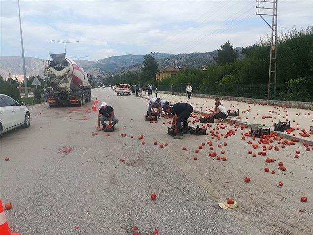 Amasya'da tarlasından topladığı ve hale götürmek için kamyonetine yüklediği domatesler, aracı kaldırıma çarpınca yola savrulan 70 yaşındaki çiftçinin imdadına sürücüler ve yolcular yetişti.