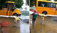 Okuldan Dönen Abisi Islanmasın Diye Şemsiyeyle Bekleyen Ufaklık