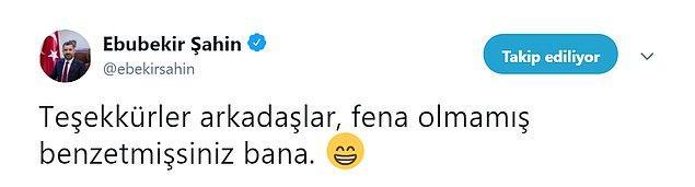 RTÜK Başkanı Şahin, Uykusuz'un karikatürünü alıntılayarak 'Fena olmamış benzetmişsiniz bana' ifadesini kullandı.