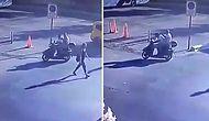 Motosiklet Kullandığı Sırada Yoldan Geçen Kadına Bakan Gencin, Babasının Hışmına Uğradığı Efsane Anlar!