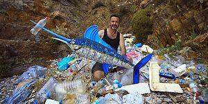 Sahile Bırakılan Çöpleri Topluyor ve Sanat Eserine Dönüştürüyor: 'Tek Kullanımlık Plastikler Yasaklanmalı'
