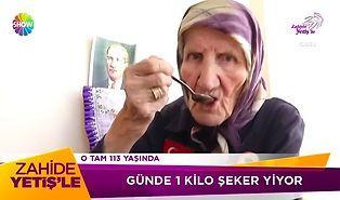 Günde Bir Kilo Şeker Yiyen 113 Yaşındaki Teyze!