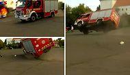 Araba Yangını Tatbikatı Sırasında Alana Hızla Gelen İtfaiye Aracı Devrildi!