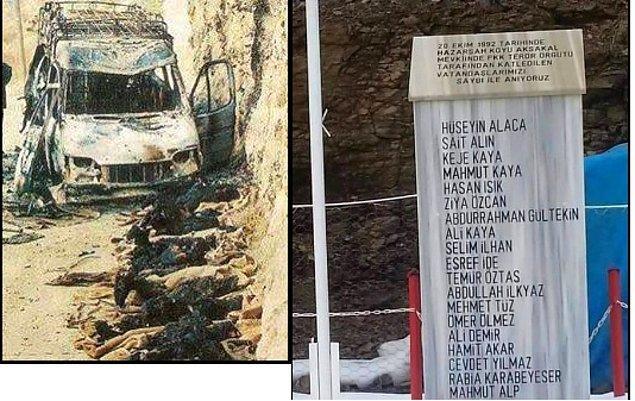 1992 - Bingöl'ün Solhan ilçesi Hazarşah köyü yakınlarında, bir otobüsü durduran PKK militanları 19 yolcuyu kurşuna dizerek öldürdü, 6 kişiyi yaraladı.