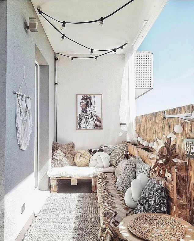 5. Modern sedirler balkonunuza çok yakışır.