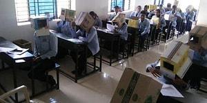 Hindistan'da Kopya ile Sıra Dışı Mücadele Viral Oldu: Sınavda Öğrencilerin Başına 'Koli' Geçirildi