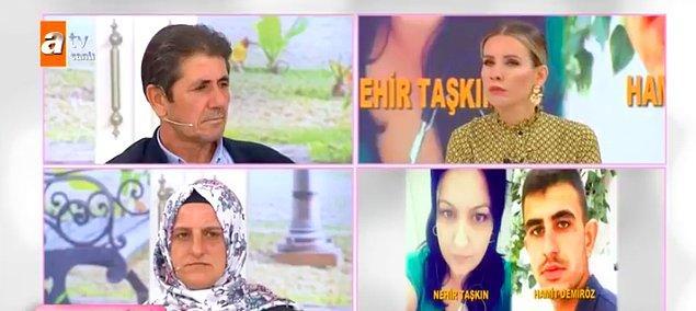 Öncelikle olayı baştan tane tane anlatalım. Şenol ve Fatma çifti oğulları Hamit'in kendisini doktor olarak tanıtan yaşça büyük Nehir Taşkın isimli bir kadın tarafından kaçırıldığını iddia ederek programa katıldı.
