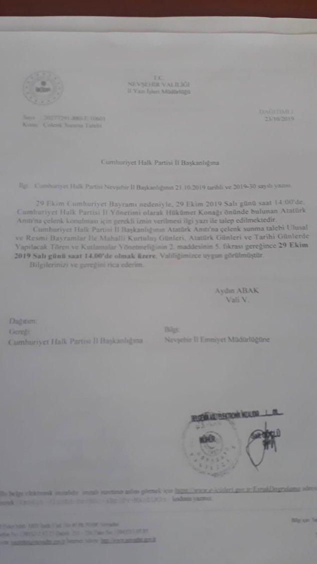 Valiliğin yürüyüş yasağı koymadan önce partinin talebine olumlu yanıt verdiği diğer belge de kamuoyu ile paylaşıldı.