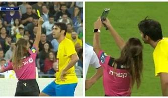 Efsaneler Maçında Brezilyalı Eski Yıldız Kaka'ya Önce Sarı Kart Gösterip Ardından Selfie Çeken Kadın Hakem