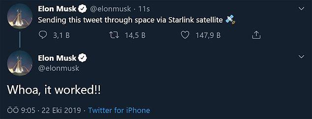 Bu haftanın gündemine Elon Musk oturuyor... Ucuz ve hızlı internet hayaline adım adım yaklaşan Musk, uzayda bulunan Starlink uydularını kullanarak Twitter üzerinden paylaşım yaptı.