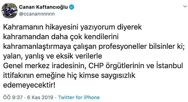 'Genel merkez iradesinin, CHP örgütlerinin ve İstanbul ittifakının emeğine hiç kimse saygısızlık edemeyecektir'