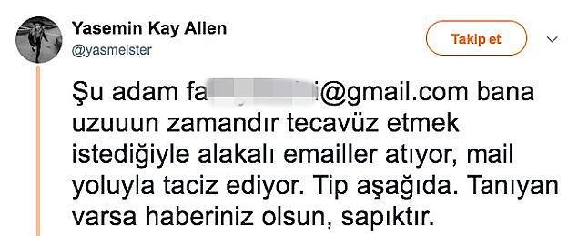Başarılı oyuncu mail yoluyla taciz edildiğini ve bu tacizcinin kendisini tecavüzle tehdit ettiğini söylemişti.