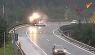 Virajı Dönemeyen Otomobilin TIR'ı Köprüden Attığı Korkunç Görüntüler!