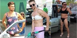 Bikiniyle Gelenlere Ücretsiz Yakıt Vereceğini Söyleyen Rus Benzinliğe Birbirinden Renkli Bikiniler Giyerek Gelen Erkekler