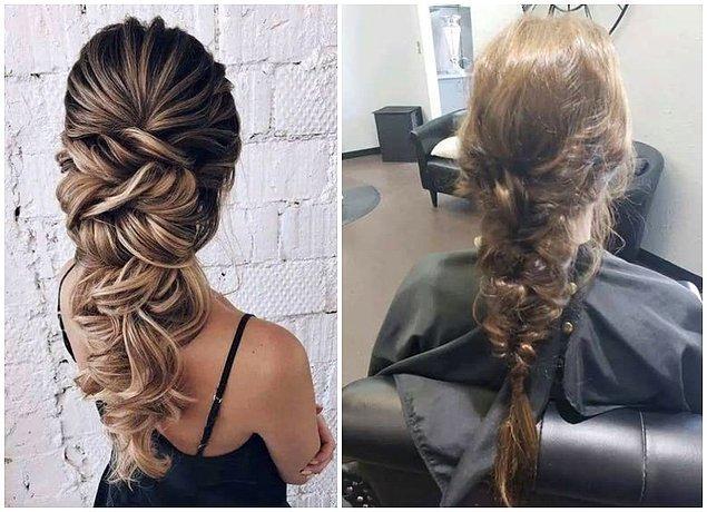2. Düğünü için sol taraftaki saçı yaptırmak isterken, sağdakine sahip olan gelin. 👰