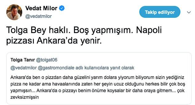 Milor'un cevabı da en az Tolga'nın çıkışı kadar fantastikti :)