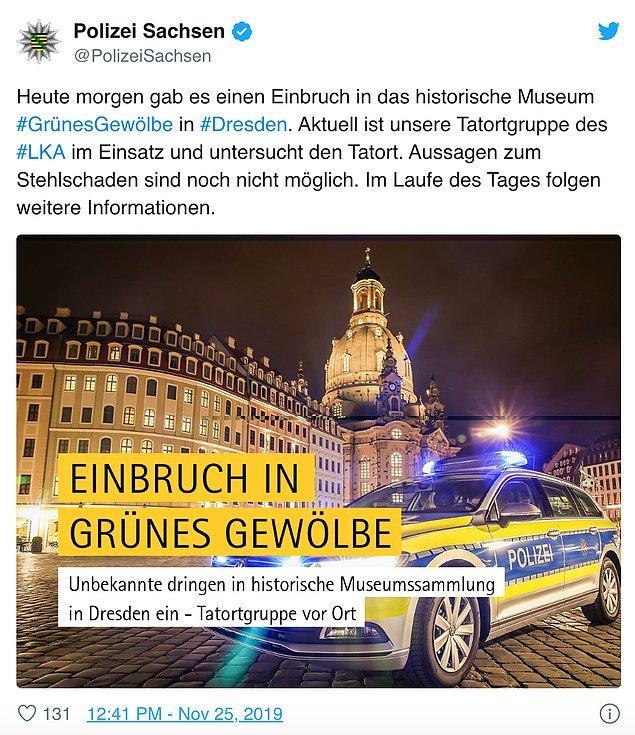 Olayı Twitter'dan duyuran polis, olay mahalinde inceleme yaptığını paylaştı.