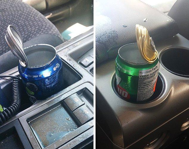 """10. """"Arabamda açılmamış bir kutu soda bıraktım, çok sıcaktı, patladı. Artık her şey yapış yapış."""""""