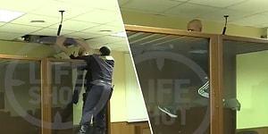 Polisin Gözü Önünde Mahkeme Salonundaki Kafesten Tırmanarak Tavandan Kaçmaya Çalışan Adam