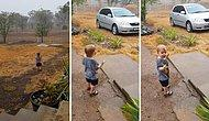Hayatında İlk Defa Yağmurla Tanışan Ufaklığın Müthiş Görüntüleri