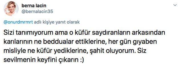 Berna Laçin de bu Tweet'i destekleyenler arasındaydı. :)