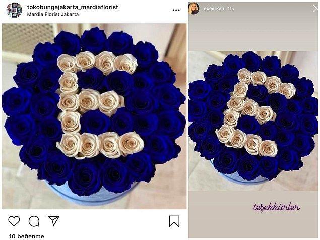 Instagram'da geçtiğimiz yıl şubat ayında paylaşılan çiçeğin fotoğrafını alan Erken, çiçek kendisine gelmiş gibi story'sinde paylaşarak 'Teşekkürler' notunu düştü! 😅