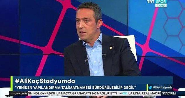 Ali Koç'un Trtspor'da katıldığı programda söylediklerinden önemli bölümler şu şekilde: