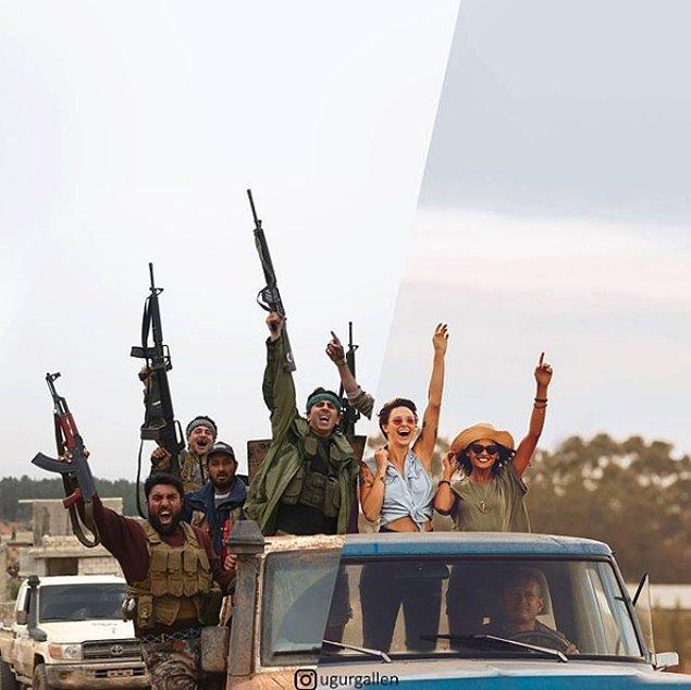 16. Suriyeli isyancıların sevinç hareketleri...