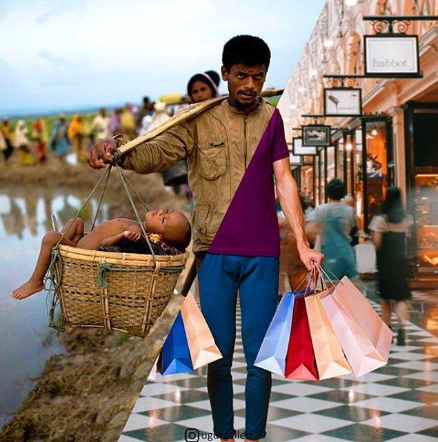 21. Sepetinde oğlunu taşıyan Rohingyalı mülteci baba.