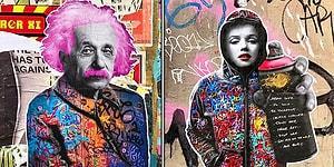Pembe Saçlı Einstein mı? Ünlü Simaların İnsanı Kendine Hayran Bırakan Birbirinden Yaratıcı 25 Duvar Resmi