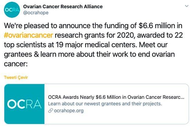 ABD'de kanser araştırmalarına destek veren OCRA Vakfı, her yıl bilim insanlarını bu alanda gösterdikleri başarılardan dolayı ödüllendiriyor.