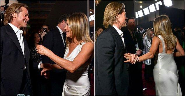 1. Geçtiğimiz günlerde eski aşıklar Jennifer Aniston ile Brad Pitt'in SAG Ödülleri gecesinde yıllar sonra bir araya gelmelerinin ardından hepimiz heyacandan deliye dönmüştük. Hatta bu fotoğraflara kalbimizi bıraktık desek yeridir. Sadece biz değil tabii, tüm dünya sanki yıllardır bu karşılaşmayı bekliyormuşçasına heyecandan ne yapacağını şaşırmıştı.