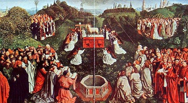 Hubert ve Jan Van Eyck tarafından 1432 yılında tamamlanan 'Gent Altar Panosu', yüzyıllardır herkesi kendine hayran bırakıyor. Belçika'nın Gent şehrindeki St. Bavo Katedrali'nde bulunan eser, dünyaca ün kazanan ilk yağlı boya tablolarından bir tanesi...