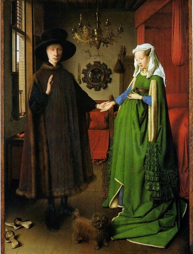 1. Jan Van Eyck'in ''Arnolfini'nin Evlenmesi '' adlı bu eserinde dikkatini en çok ne çekti ?