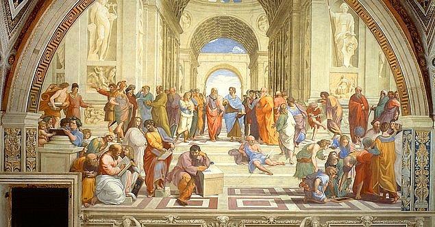 7. Raffaello Sanzio'nun 'SCHOOL OF ATHENS – Atina Okulu' adlı bu eserinde ilk gözünüze çarpan kısım nedir?