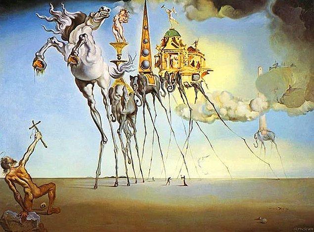9. Salvador Dali'nin  'St. Anthony'nin Baştan Çıkışı' adlı bu eserinde dikkatini en çok ne çekti?