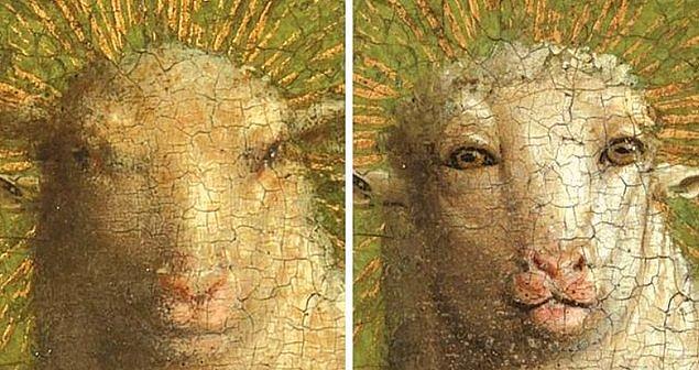 5. Yine bir restorasyon faciası! Orta Çağ'dan günümüze kadar gelen 'Ghent Altar Panosu' eserine yapılan restorasyon büyük tepkilere neden oldu.