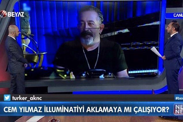 Dün akşam Beyaz TV'de Cem Yılmaz'ın filmlerinde 'illuminati'ye şifreli gönderme yaptığına dair ilginç bir tartışma konusu vardı.
