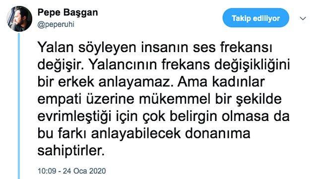 Twitter'da Pepe Başgan olarak yer alan Uzman Psikolog, konuyla ilgili bilimsel bir açıklama yaptı. Kadınların bu bilgiyi okuyunca keyiflenecekleri kesin gibi bir şey!