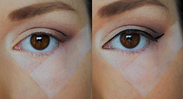 Eyeliner'ı kusursuz çekmekte çoğumuz pek iyi değiliz... Bir de üstüne acelen varsa, bu taktik seni kurtaracak.