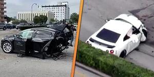 Bir Nissan GT-R'ın Tesla Model X'i Ortadan İkiye Böldüğü Korkunç Kaza!