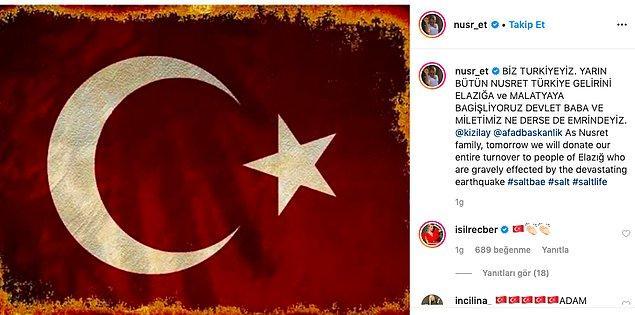 Türkiye'deki 5 restoranının bir günlük gelirini Elazığ ve Malatya'daki depremzedelere bağışlayacağını söyleyen Nusret,